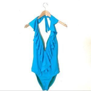 Red Carter Deep V Ruffle Swimsuit